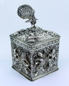 Antique Burmese Silver Tea Caddy, C.1900