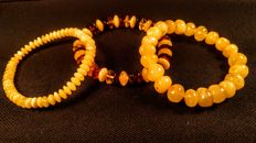 Set of 3 Baltic Amber Bracelets, 25 grams