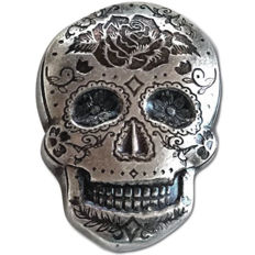 Monarch Day of the Dead Rose Silver Skull (New Design)