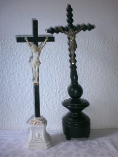 Detailed antique crucifixes.