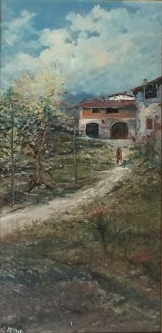 (Signed De Petris) Unknown artist (20th century) Paesaggio autunnale con cascine