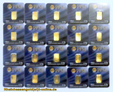 20 pcs. gold bars, each 0.10g Nadir PIM Gold fine gold, 999.9/1000 gold, 24 Karat Goldbarren, Goldcard, LBMA certified