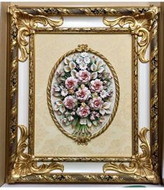Classic Capodimonte Porcelain Picture 70 x 60 cm composed of Roses and mixed Flowers
