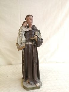 Plaster sculpture - hand painted - Saint Anthony of Padua holding Jesus