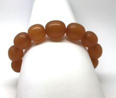Old natural Amber bracelet, large beads 14-17 mm, weight 24.4 grams, Art Deco period