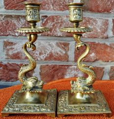 Pair of brass candlesticks - body with dolphins - France - approx 1900