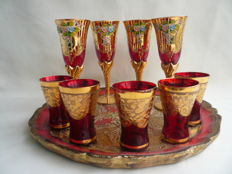 Venetian glass set with tray