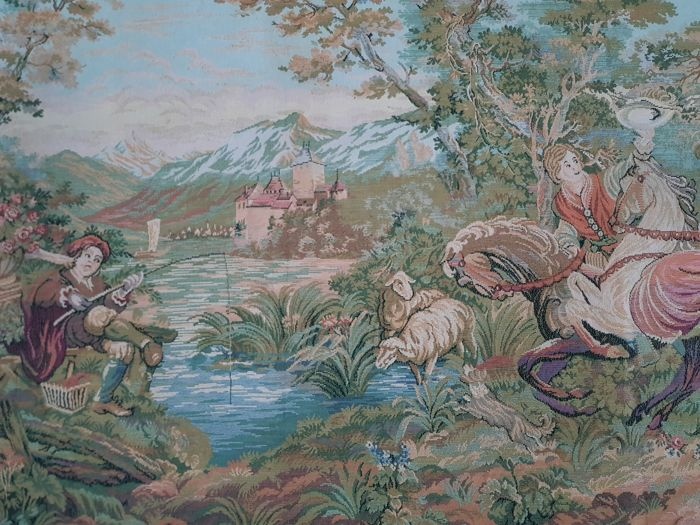 Vintage pictorial tapestry , second half of the 20th century, France 95 cm x 192 cm