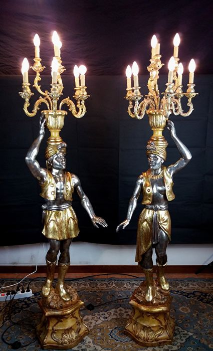 Pair of Venetian Moors - antique-style statues - Italy - first half of the 20th century