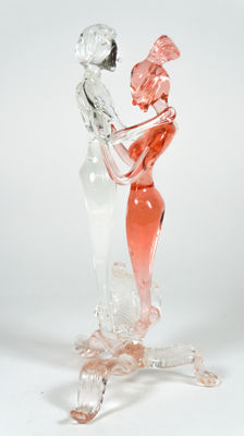"Simone Rossetto (Murano) - ""Amanti"" sculpture, pink and clear crystal"