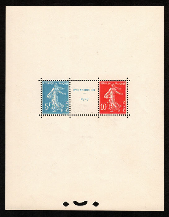 France, 1927 – Strasbourg sheet – Yvert Bloc no. 2.