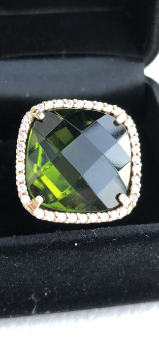 18 kt gold ring with green peridot, size 8 (US) Diameter 18, circumference 57.5