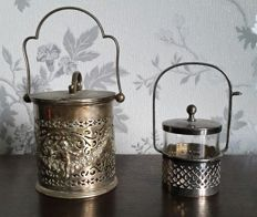 Pair of decorated silver plated Jars
