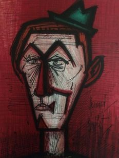 Bernard Buffet - Clown au fond rouge 1967