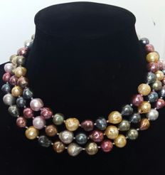 Long necklace with multi-coloured freshwater cultured pearls - Length 124 cm