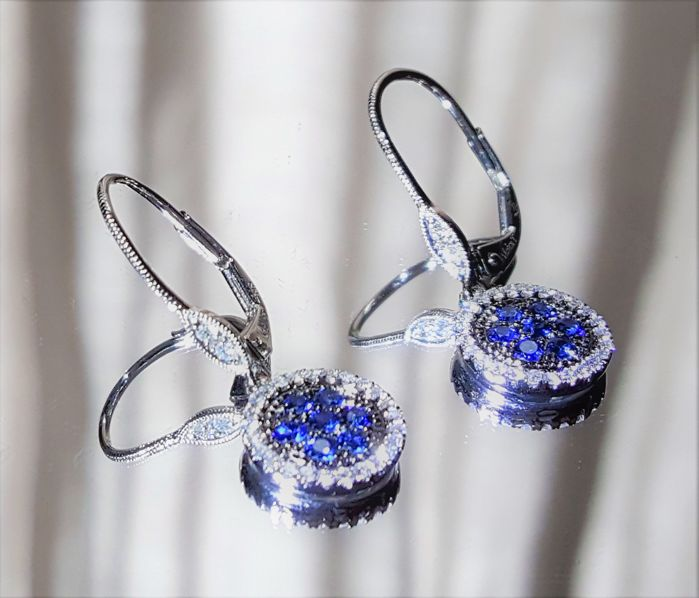 Meira T Diamond and Sapphire Dangle Round Earrings in 18k White Gold