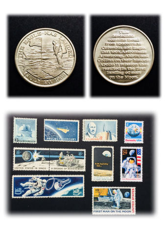 "Authentic Apollo 11 Metal that Went to the Moon & Lot of ( 11 ) Unused USA Stamps ""Journey to the Moon ""  from 1948 to 1994 - Limited Edition Set"
