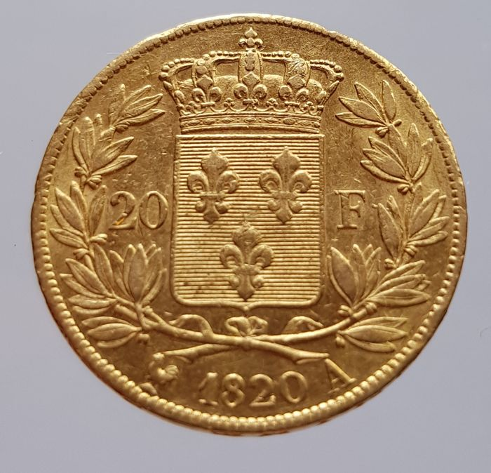 France - 20 Francs 1820 A (Paris) - Louis XVIII - gold
