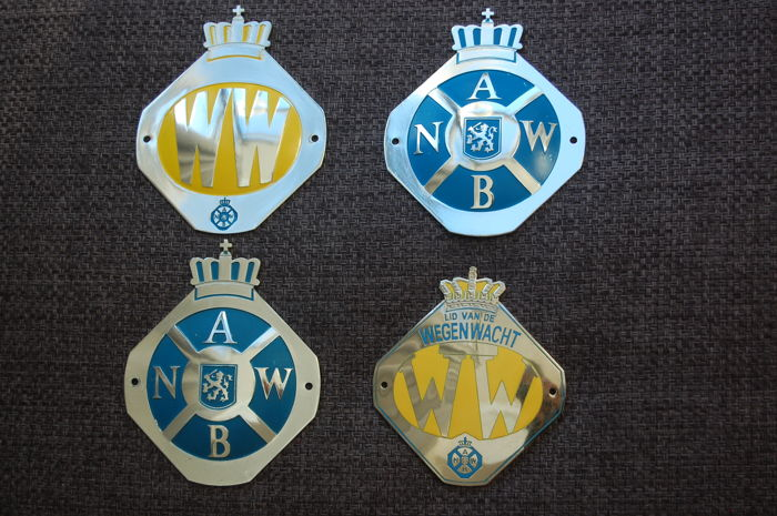 ANWB and Wegenwacht WW badges / emblems / plaques