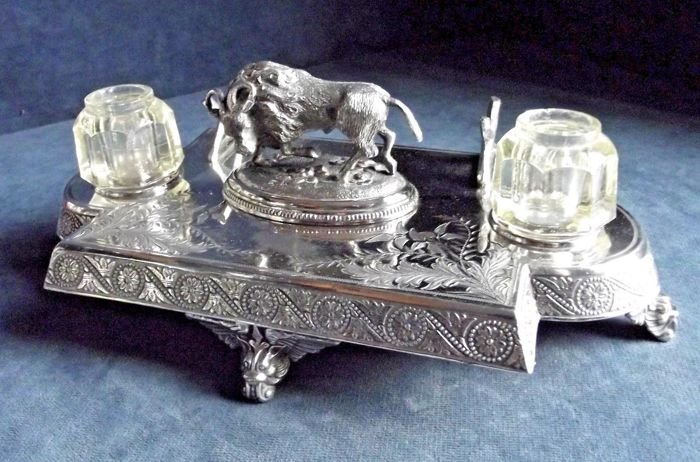 Rare Empire style English Silver Plated Desktop Writing Set, Azgood Old Cast Goat, Desk Inkwell, England, ca. 1890