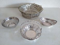 Four beautiful silver plated chocolate dishes, baskets