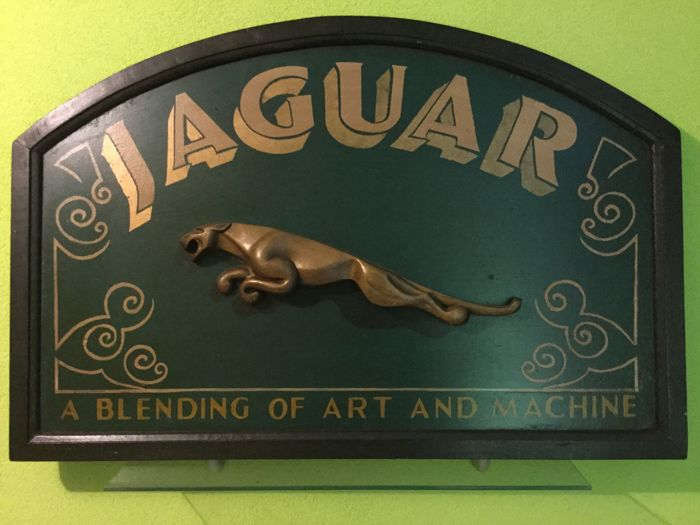 "Old Jaguar advertising sign "" a blending of art and machine "" 92x61 cm - 1980/1990"