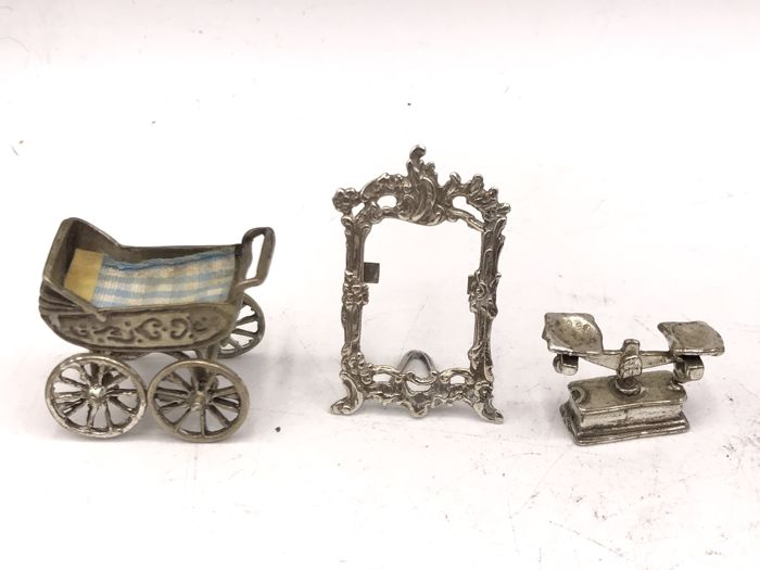 Three silver miniatures - photo frame - stroller and scale