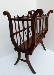 Walnut reading stand in the shape of a harp, France, first half of 20th century