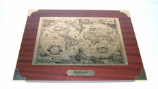 "World map ""Anno 1638"" brass plate on wooden frame"