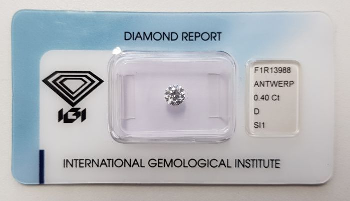 0.40 ct Natural Round Brilliant Cut Diamond D SI1