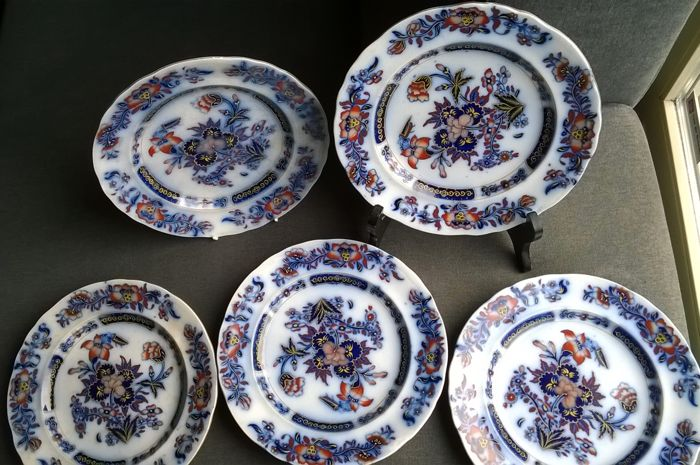 A set with five plates marked French China floral Japanese motif England ca & A set with five plates marked French China floral Japanese motif ...