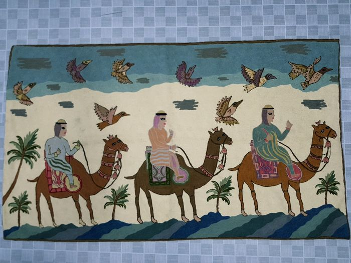 Hand-woven Pictorial tapestry, Kashmir India (Suzani) - 92 cm x 187 cm