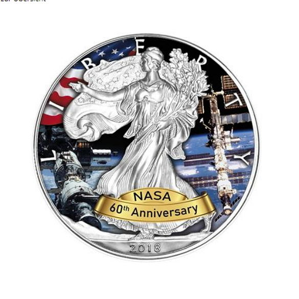United States - Dollar 2018 '60 Years of NASA ISS - International Space Station' with colour - 1 oz 999 silver