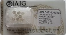 Cts. 1.66, F to H Colours, I2-I3 Clarity, Total 8 Stones, Round Brilliants, AIG Certified, Sealed, NO RESERVE PRICE