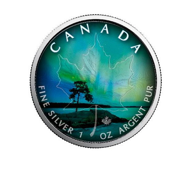 Canada - 5 CAD - maple leaf 2018 - Northern Lights of Quebec - 1 oz silver - edition 999 pieces - colour edition