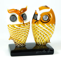 De Mio Giuliano (Murano) - Pair of Filigrana Owls