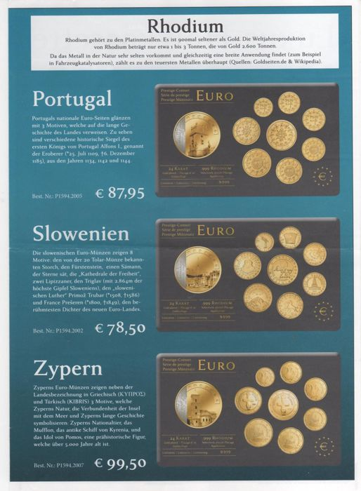 Europe Euro Prestige Coinset Decorated With Gold Rhodium