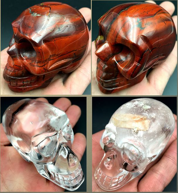 Red jasper + White quartz skull with snow - 72-80x38-49x41 - 62mm - 1032g (4)