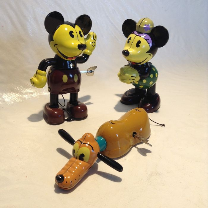 Disney - 3 Schylling Wind-Up Toys - Mickey Mouse + Minnie Mouse + Pluto - (ca. 1990's)