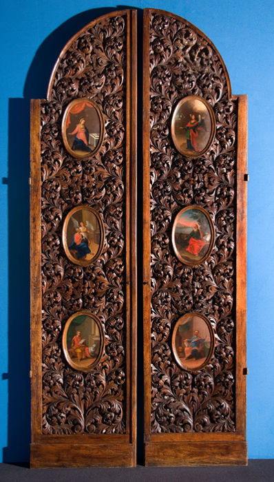 A pair of carved wooden Royal Doors from a Church Iconostasis - possibly St. Petersburg & A pair of carved wooden Royal Doors from a Church Iconostasis ...