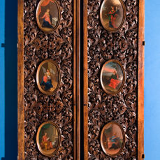 A pair of carved wooden Royal Doors from a Church Iconostasis - possibly St. Petersburg, Russia - late 18th century