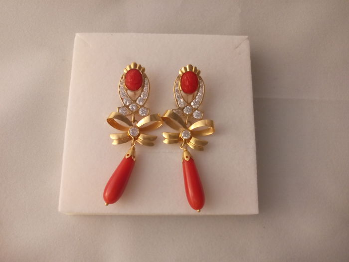 Pair of earrings in 18 kt gold - 11.6 g