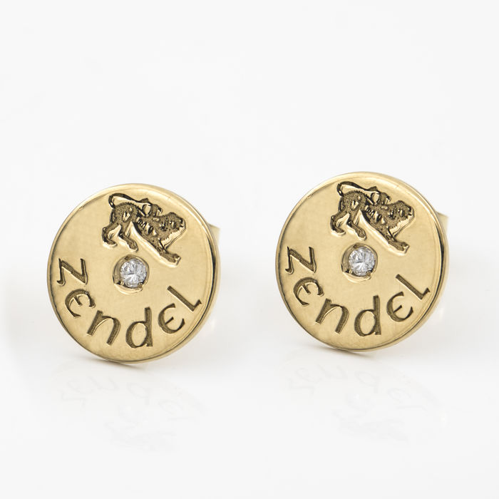 Yellow gold, 18 kt/750 - Earrings - Brilliant cut diamonds totalling 0.10 ct - Diameter 11.80 mm (approx.)