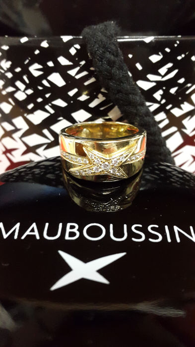Mauboussin - 18k yellow gold star ring/diamonds