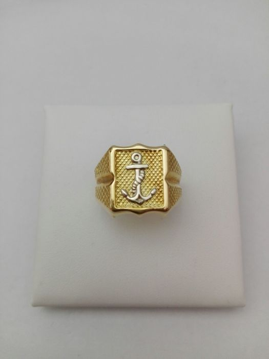Men's ring in 18 kt yellow gold with anchor design in 18 kt white gold, 7.8 g