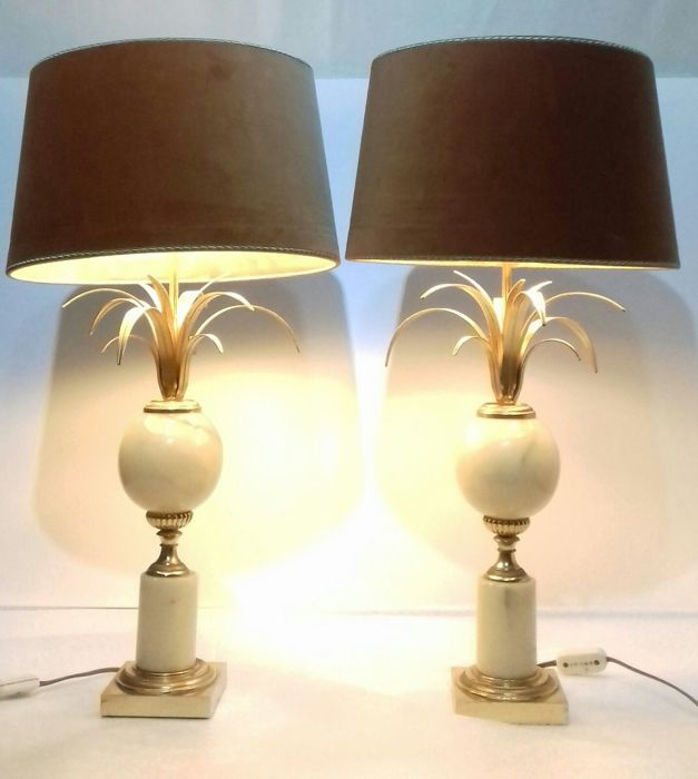 Ordinaire A Very Nice Pair Of Gilded Faux Marble Table Lamps