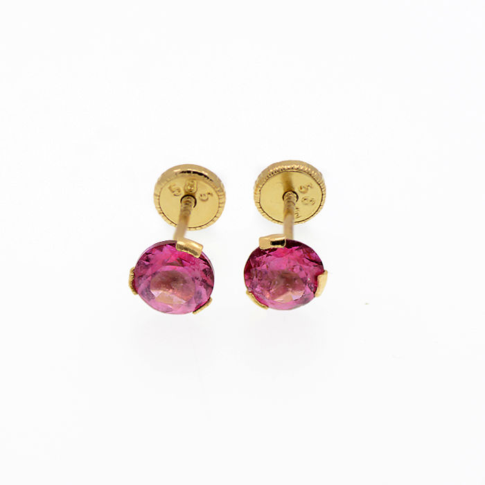 14k/575 yellow gold earrings with two pink topazes - Total gemstones weight 1.22 ct.
