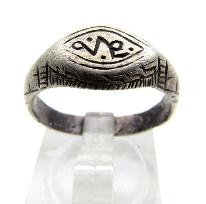 Early Medieval Silver Viking ring with Runic Script on bezel - 18 mm