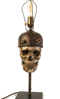 Replica Human skull with metal Miner's Helmet - 60cm