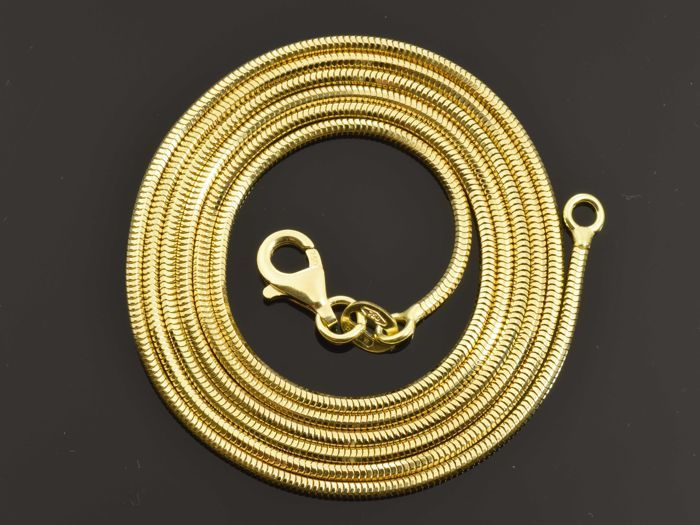"""18k Gold Necklace. Solid Chain """"Real Snake"""" · Length 60 cm · Weight 7.42 g. No reserve price"""